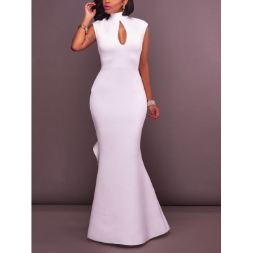 Euramerican High Collar Falbala Design White Polyester Ankle Length Dress