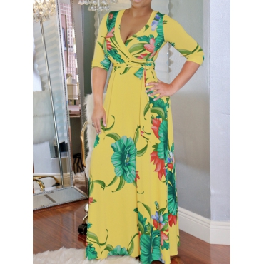 Fashion V Neck Printed Yellow Healthy Fabric Ankle Length Dress