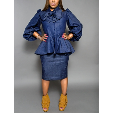 Stylish Long Sleeves Bow-tie Decorative Blue Denim Sheath Knee Length Dress