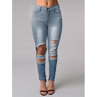 Stylish Broken Holes Light Blue Denim Pants