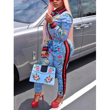 Lovely Trendy Round Neck Long Sleeves Floral Print Blue Polyester Two-piece Pants Set