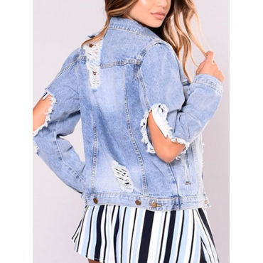 Fashion Turndown Collar Long Sleeves Broken Holes Light Blue Denim Short Coat