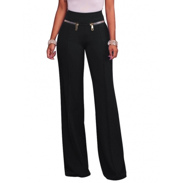 Fashion High Waist Black Cotton Blends Pants