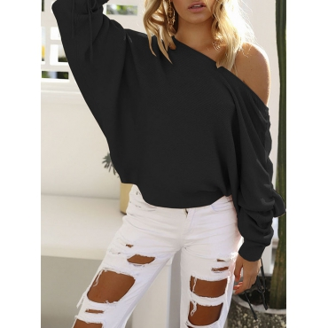 Trendy Dew Shoulder Long Sleeves Black Cotton Pullovers