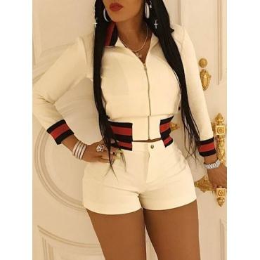 Trendy Turndown Collar Long Sleeves Zipper Design White Polyester Two-piece Shorts Set