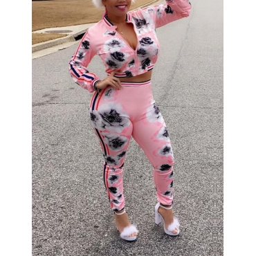 Leisure Round Neck Printed Pink Polyester Two-piece Pants Set