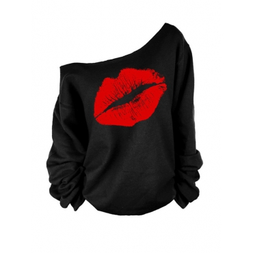 Lovely Leisure Dew Shoulder Lip Printing Red Blending Pullovers