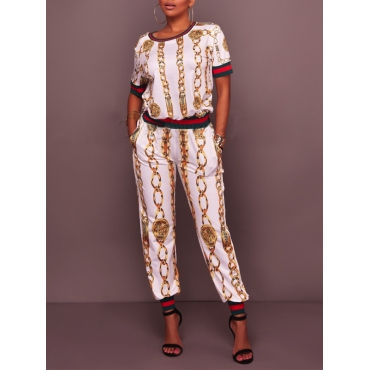 Euramerican Round Neck Printed Patchwork Polyester Two-piece Pants Set