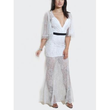 Сексуальное V шеи Прозрачное белое платье с длинным лодыжком (без подкладки)