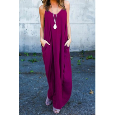 Повседневная V-образная вышивка Хлопчатобумажная смесь Фиолетово-красное платье из хлопка с бретелькой (без аксессуаров)