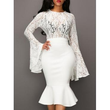 Stylish Round Neck See-Through White Lace Two-piece Skirt Set
