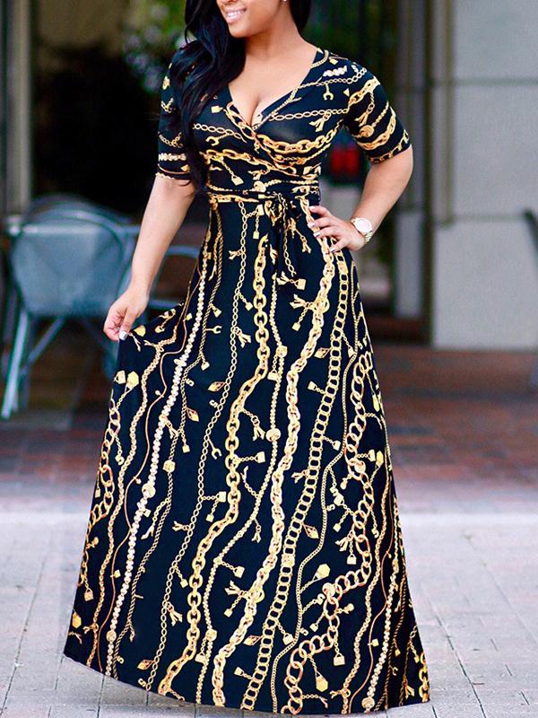 Sexy V Neck Short Sleeves Printed Milk Fiber Ankle Length Dress Dresses <br><br>