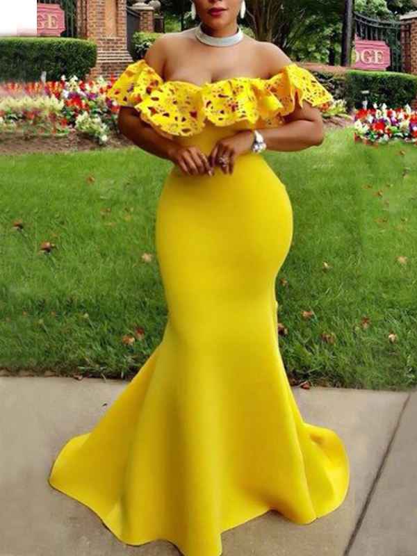 Charming Dew Shoulder Falbala Design Yellow Polyester Floor length Dress Dresses <br><br>