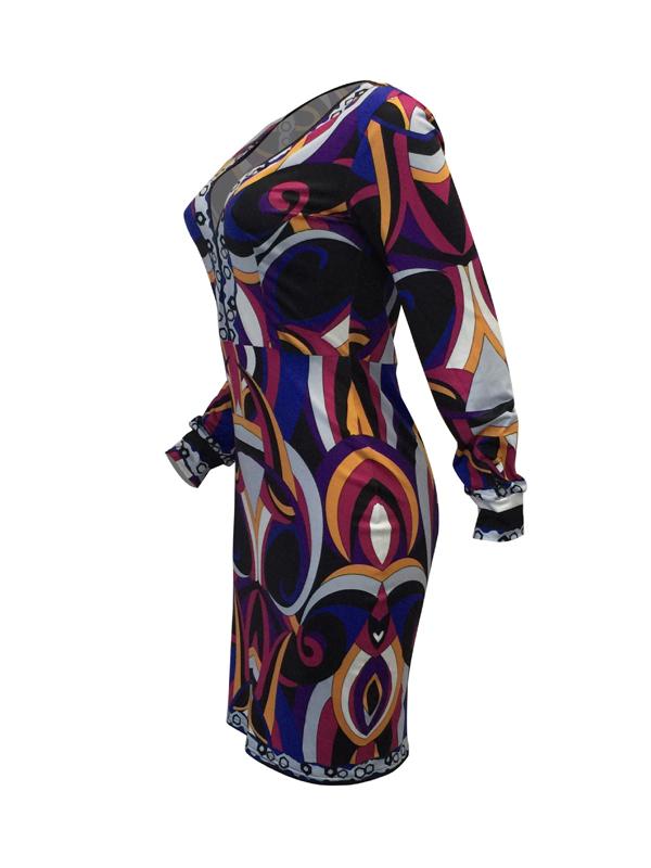 Euramerican V Neck Long Sleeves imprimé robe en mousseline de soie en mousseline de soie (sans ceinture)