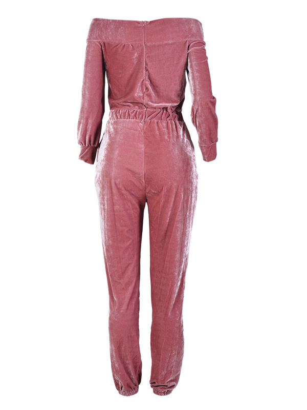 Euramerican Dew Shoulder Pink Velvet One-piece Jumpsuits