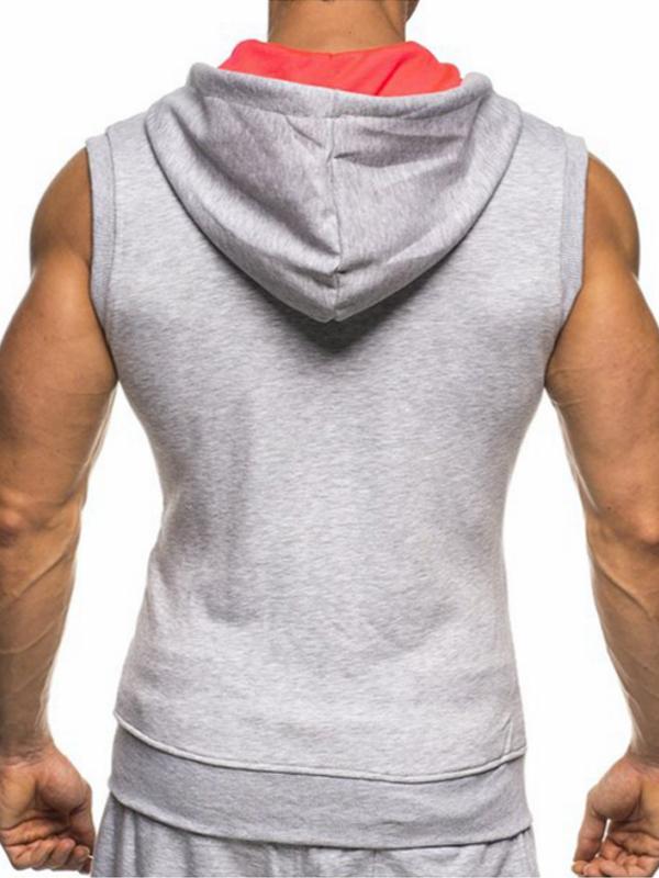 Leisure Hooded collar Light Grey Cotton Waistcoat for men