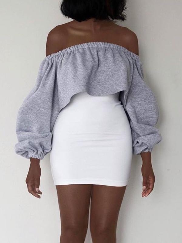Leisure Dew Shoulder Grey Polyester Gaine Mini Dress