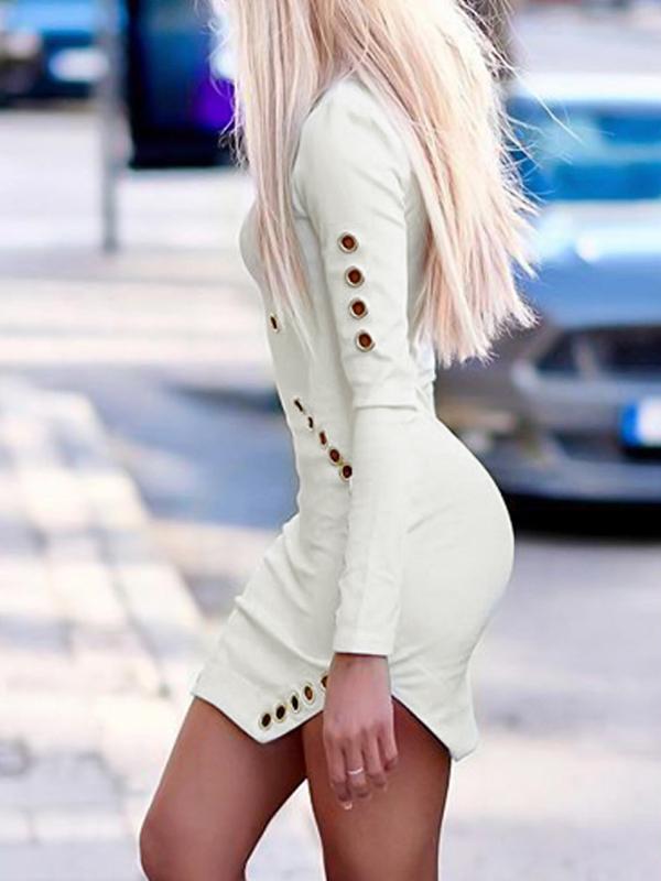 Cuello redondo de moda mangas largas hueco-out blanco vestido de tela sana mini vestido