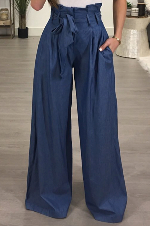 Lovely Stylish High Waist Light Blue Cotton Pants(