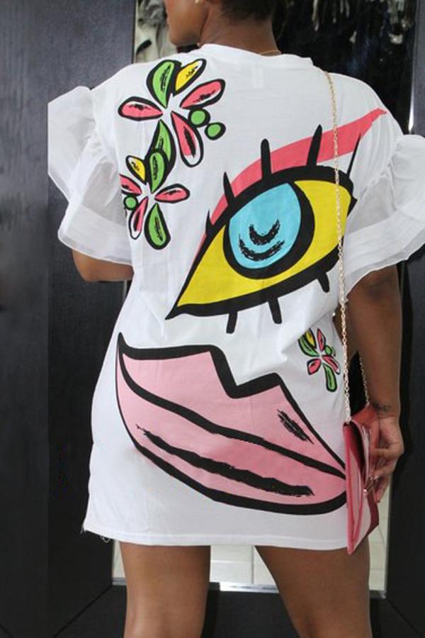 Euramerican Round Neck Short Sleeves Printed White Polyester Sheath Mini Dress