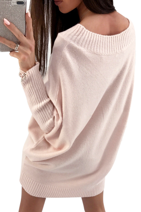 Trendy Dew Shoulder Light Pink Knitting Sweaters