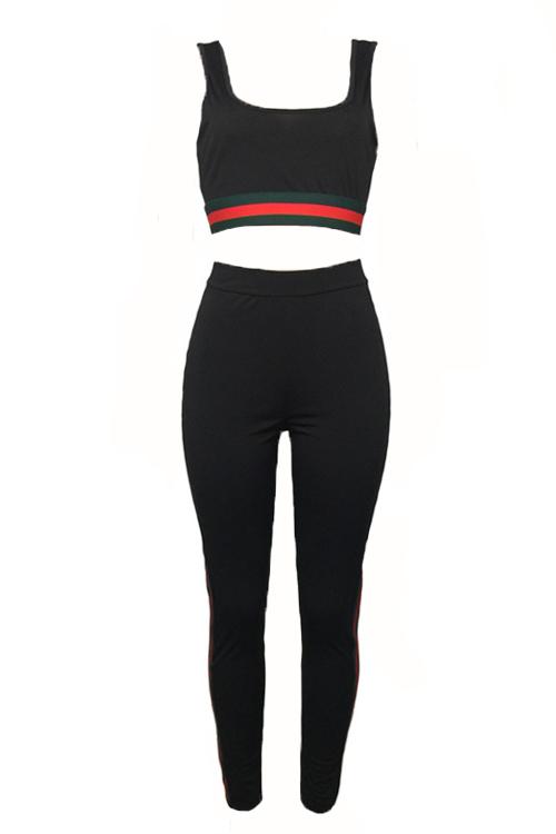 Leisure U-shaped Neck Patchwork Black Polyester Two-piece Pants Set