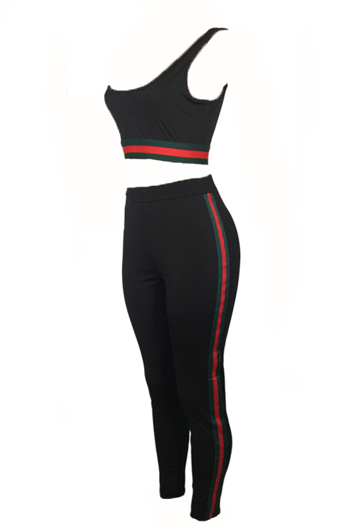 Leisure U-shaped Neck Patchwork Black Polyester Two-piece Pants Set