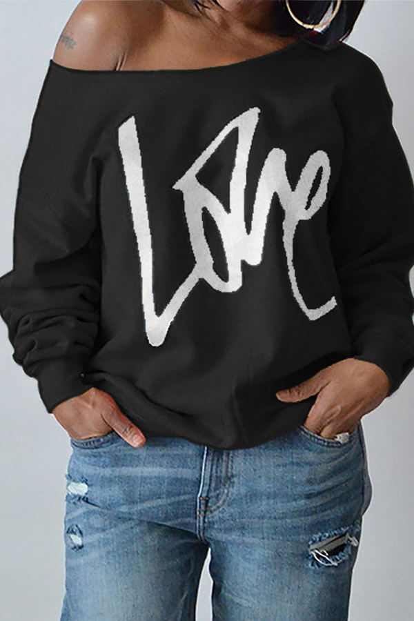 Leisure Round Neck Mangas compridas Letters Printing Black Cotton Pullover
