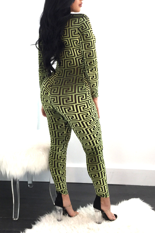 Euramerican V Neck Printed Yellow Cotton Blends One-piece Skinny Jumpsuits