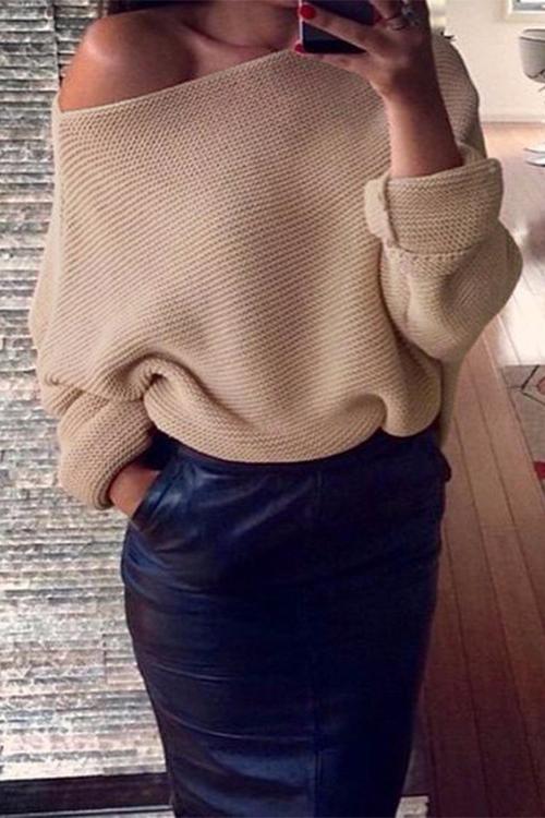 Euramerican Round Neck Long Sleeves Khaki Acrylic Sweaters