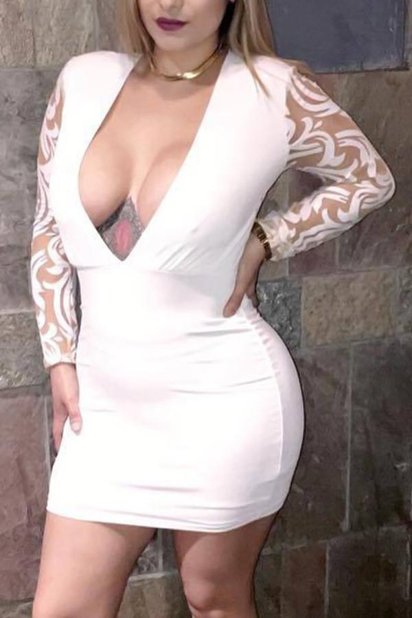 Sexy V Neck Gauze Patchwork Blanc Gaine en fibre de gaine Mini-robe