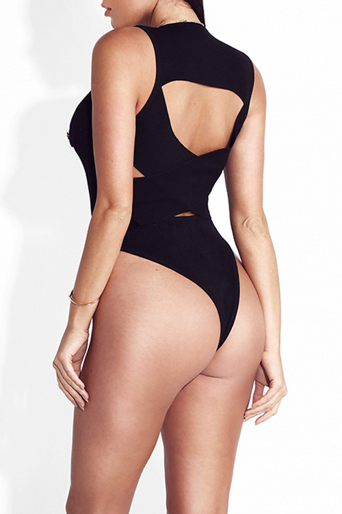 Sexy Hollow-out Zipper Design Black Cotton One-piece Skinny Jumpsuits