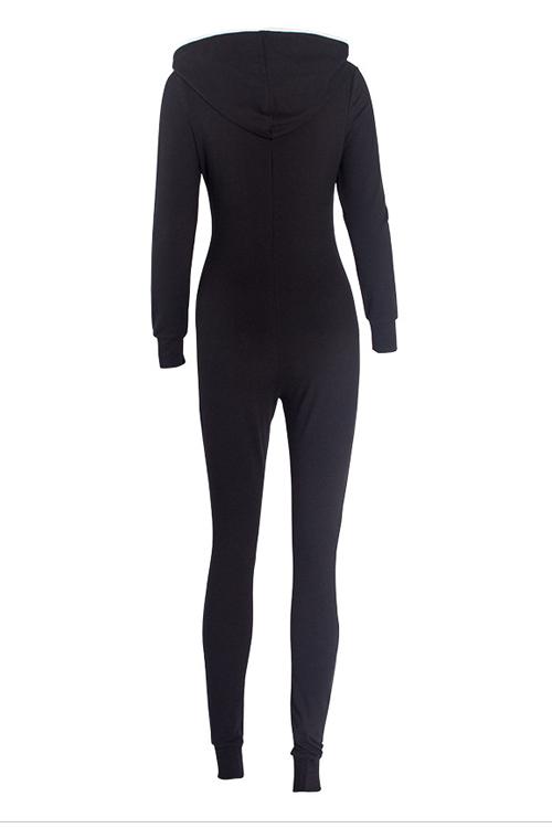 Leisure V Neck Zipper Design Black Cotton One-piece Jumpsuits