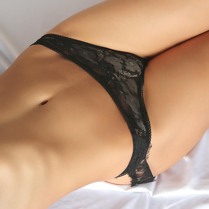 Mutandine nere sexy della rappezzatura del merletto del merletto