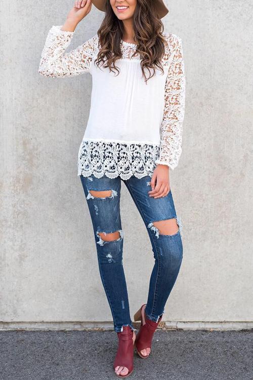 Stylish Lace Trim Patchwork White Cotton Shirts