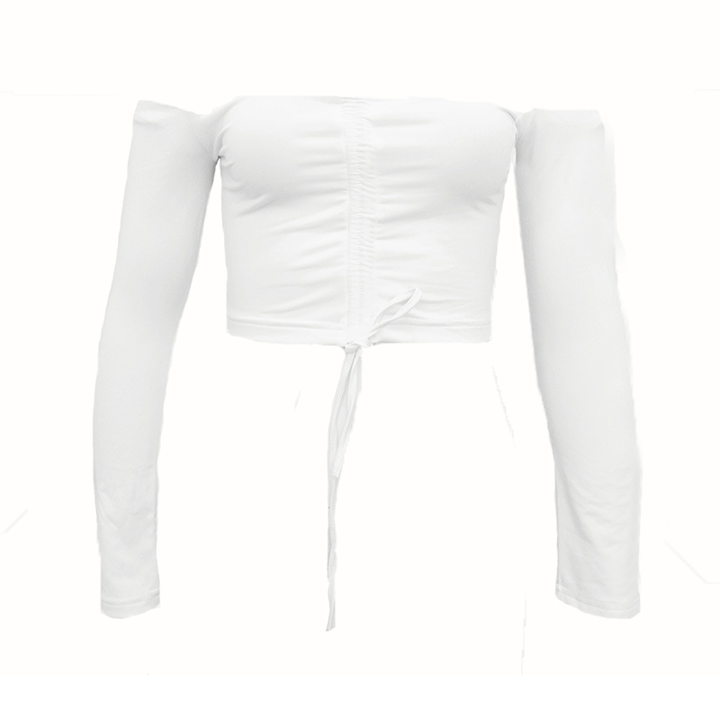 Sexy Dew Shoulder White Polyester T-shirt