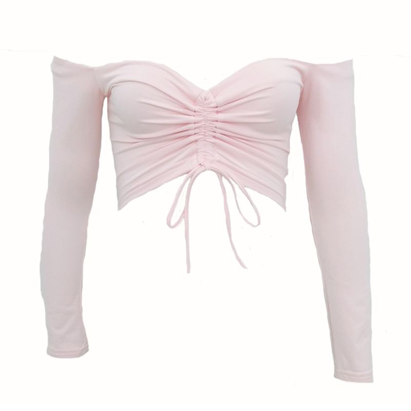 Sexy Dew Shoulder Pink Polyester T-shirt