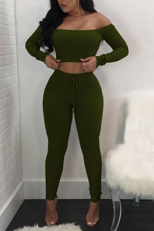 Euramerican Dew Shoulder Army Green Cotton Two-piece Pants Set<br>