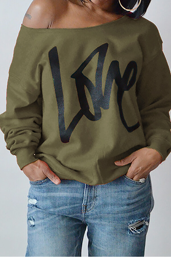 Leisure Round Neck Mangas compridas Letters Printing Army Green Cotton Pullover