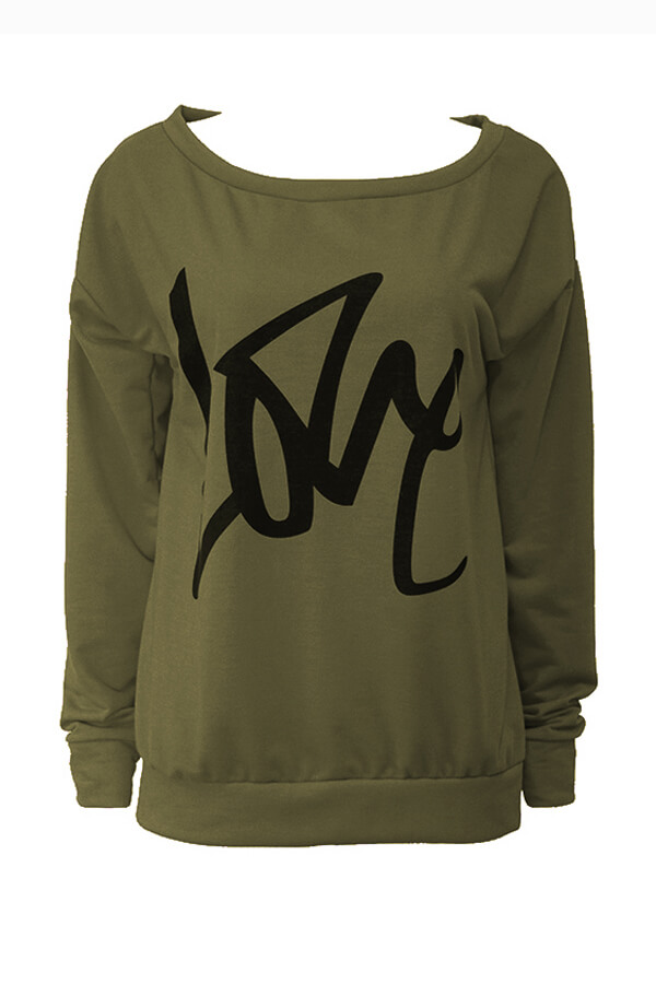 Lovely Leisure Round Neck Long Sleeves Letters Printing Army Green Sweatshirt Hoodie