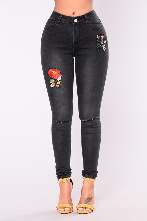 Stylish High Waist Embroidered Design Black Denim Pants_Jeans_Bottoms_LovelyWholesale ...