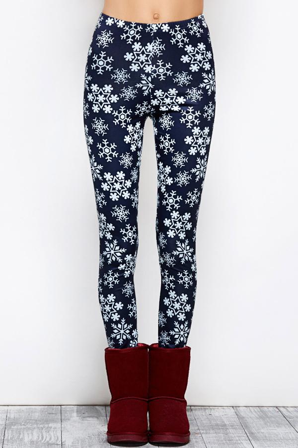 Euramerican High Waist Snowflakes Printing Navy Blue Polyester Leggings
