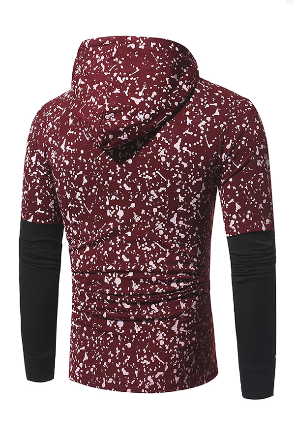 Leisure Hooded Collar Long Sleeves Patchwork Red Cotton Hoodie for men