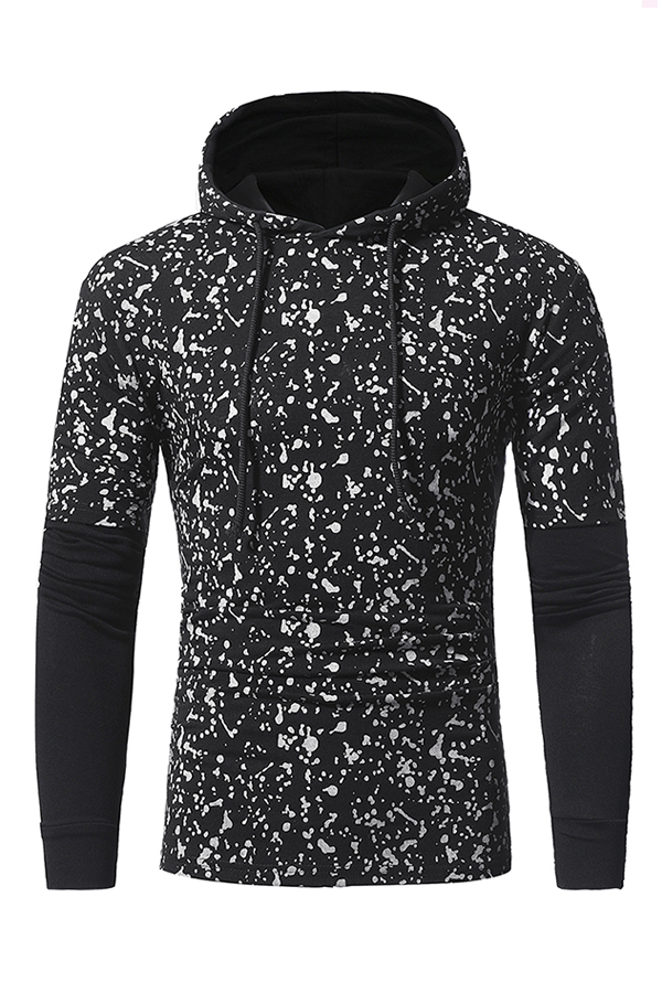 Leisure Hooded Collar Long Sleeves Patchwork Black Cotton Hoodie for men