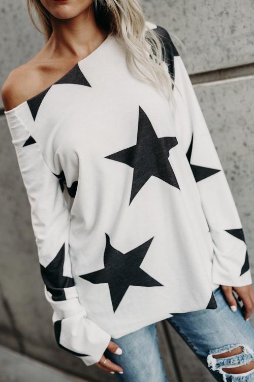 Blending O Neck Long Sleeve Geometric T-shirt