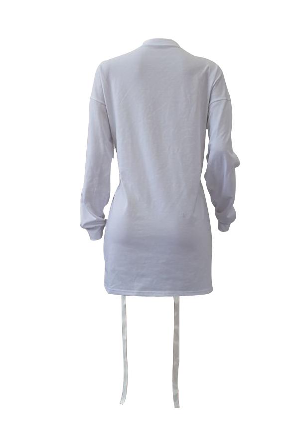 Leisure Round Neck Long Sleeves Printed White Polyester Mini Dress