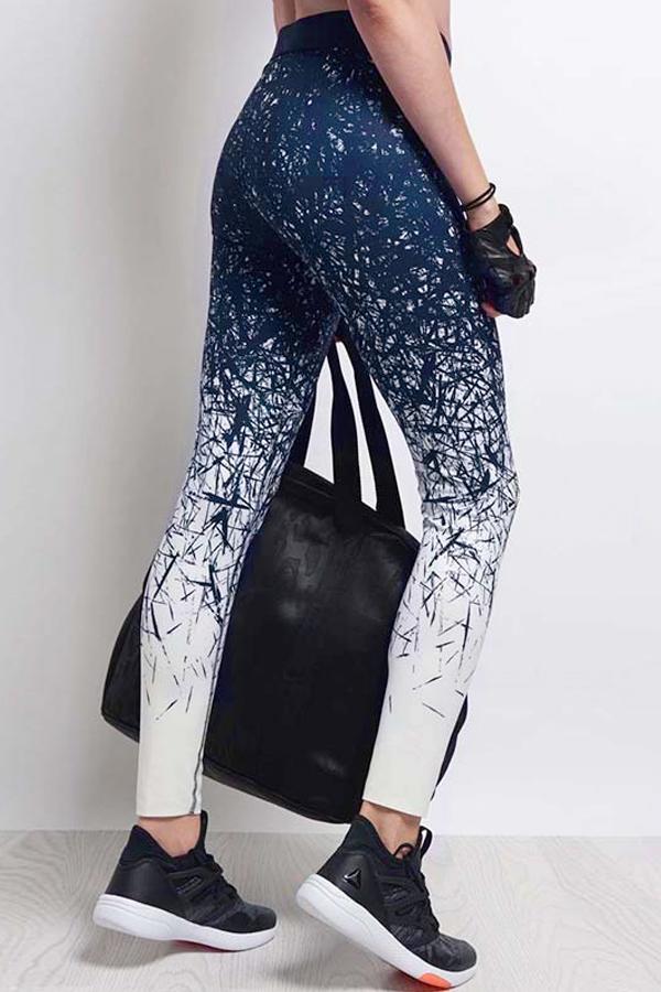 Leisure Elastic Waist Printed Blue Polyester Leggings