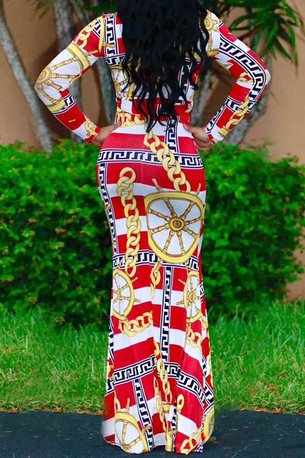 Vestido Largo Con Cuello Redondo Y Longitud De Tobillo Confeccionado En Fibra De Leche Roja