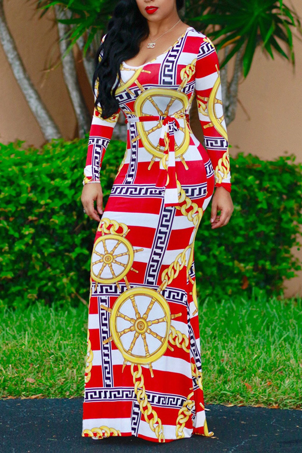 Stylish Round Neck Printed Red Milk Fiber Sheath Ankle Length Dress