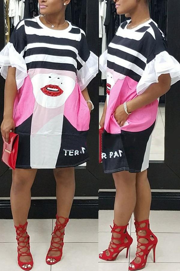 Stylish Round Neck Bedrucktes weißes Polyester Knielänge Kleid